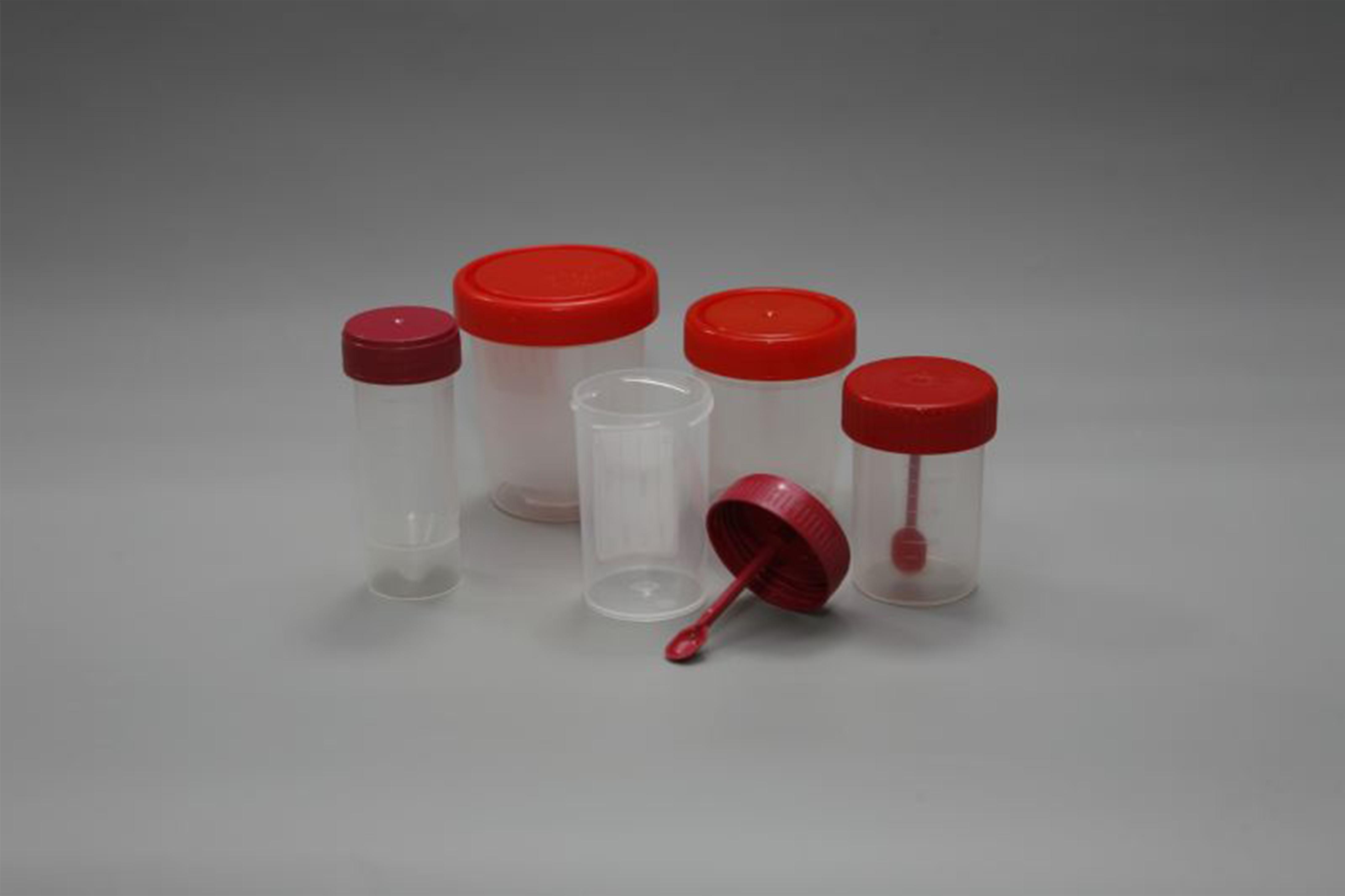 Контейнер для сбора биоматериала с лопаточкой, стерильный, V=60 мл